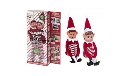 2er-Pack Weihnachtselfen in Rot oder Schwarz