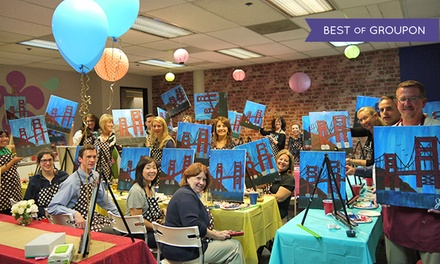 Art class with wine and snacks vino artist groupon for Groupon painting class