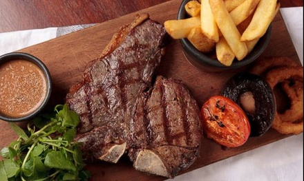 TwoCourse Steak Meal with Hot Drink for Two or Four at Five Gastro Pub Southam