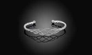Glitter Intertwined Matrix Honeycomb Swirl Bangle by Rubique Jewelry