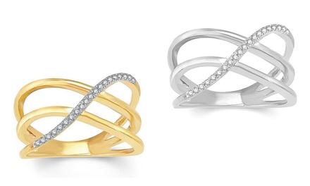 1/10 CTTW Diamond Three Row X Ring