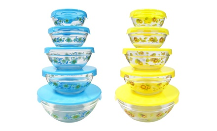Set of 5 Printed Glass Bowls with Lids in Blue Flower or Yellow Sunflower Pattern. Free Returns.