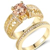 3.10 CTTW Cubic Zirconia Engagement Ring & Band in 18K Gold Plating