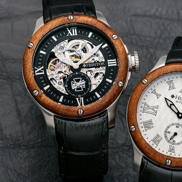 0f103f773 Heritor Montclair or Montrichard Men's Automatic Leather Watch with  Skeleton Dial