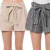 Women's Junior Relaxed-Fit Belted Pinstripe Shorts