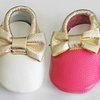 Infants' Genuine Leather Moccasins with Bow and Tassel Detail