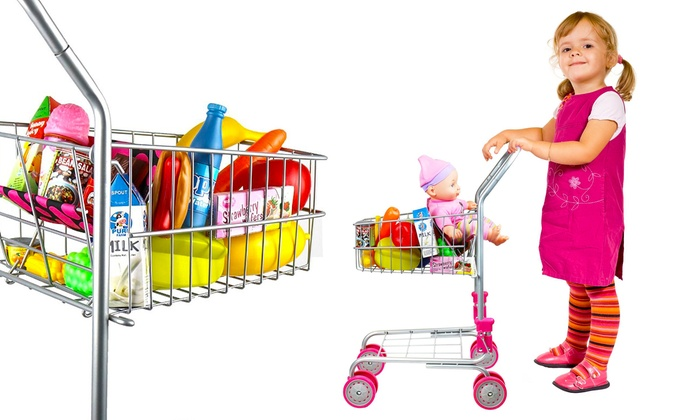 kids 39 pretend play shopping cart toy groupon. Black Bedroom Furniture Sets. Home Design Ideas