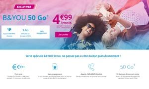 Bouygues Telecom: Forfait Mobile sans engagement série spéciale B&YOU 50Go dont 5Go de roaming Europe/DOM à 4,99€/mois pendant 12 mois