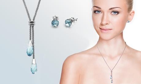Parure con cristalli Swarovski® composta da collana con pendente e orecchini disponibile in 3 colori