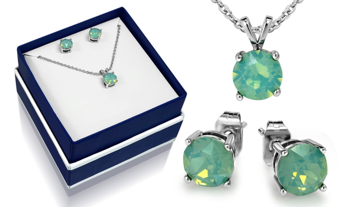 3 00 Ctw Created Opal Necklace And Earring Set By Muiblu