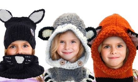 Animal Knitted Hat and Scarf Set