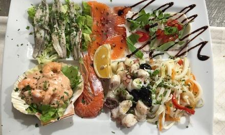 Menu di pesce da 5 portate e vino a 49,90€euro