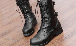 (Mode)  Bottes motardes zip et lacets -51% réduction