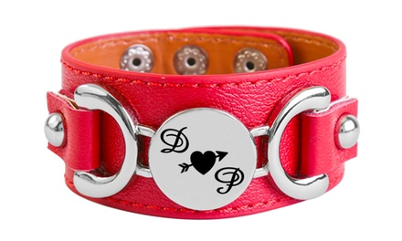 One or Two Personalized Leatherette Couples Bracelet from Monogram Hub (Up to 83% Off). Two Options Available.
