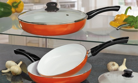 Three-Piece Ceramic Frying Pan Set in Choice of Colour