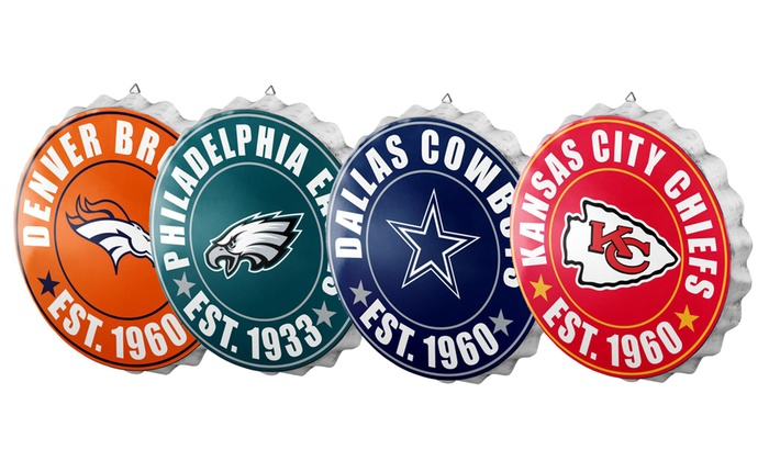 d10ab736 Forever Collectibles NFL Bottle Cap Wall Sign | Groupon