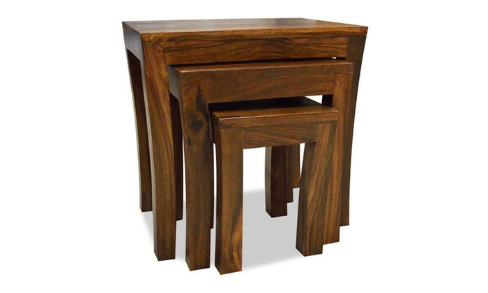 Sheesham wood nest of tables groupon goods sheesham wood nest of tables watchthetrailerfo