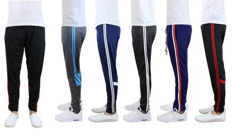 Men's Slim-Fit Striped Jogger Track Pants with Pockets. Multiple Options Available.