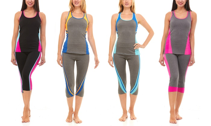 Yoga Tank and Bottom Set (4-Piece; 2 Bottoms, 2 Tops)