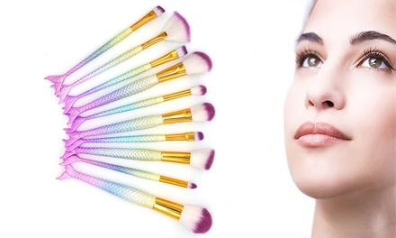 10-Piece Professional Mermaid Cosmetic Make-Up Brush Set: One ($14.95) or Two Sets ($24.95)