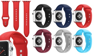 WalvoDesign Silicone Strap for Apple Watch Series 1, 2, 3, & 4 (3-Pk.)