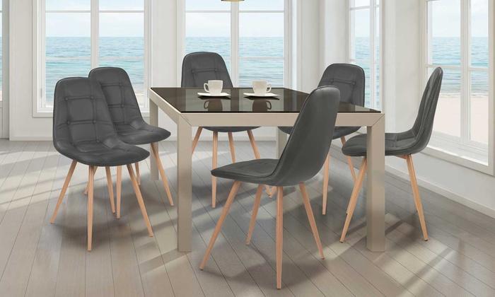 lot de chaises scandinaves cuirlone noires ou grises groupon. Black Bedroom Furniture Sets. Home Design Ideas