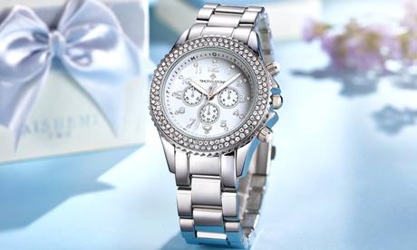 1 o 2 relojes Timothy Stone colección Amber Stainless adornados con 130 cristales de Swarovski® (Envío gratuito)