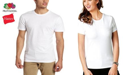 סט 6 חולצות T בצבע לבן מבית HANES או Fruit of the Loom לגברים ולנשים. עשויות 100% כותנה בלתי-מתכווצת