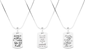 Pink Box Stainless Steel Inspirational Necklace with Cubic Zirconia