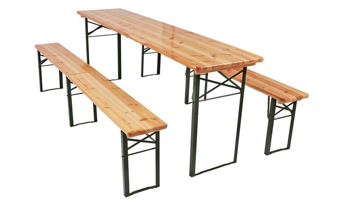 Mesas y bancos de madera para jard n groupon goods for Mesa y banco de jardin