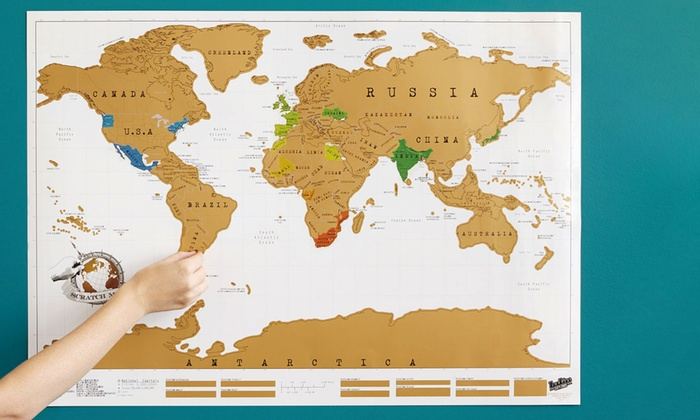 One, Two, Three or Four Large Scratch-Off World Maps for £13.99