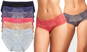 Ever Basic Silky Bikini Panties With Lace Front Decor (6-Pack)