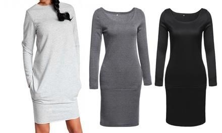 Pulloverkleid mit langen Ärmeln in Schwarz, Dunkelgrau oder Grau