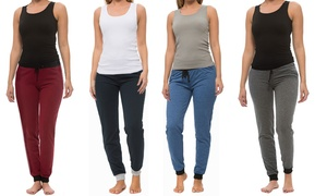 Coco Limon Solid Color Jogger and Tank Top Set (4-Piece)