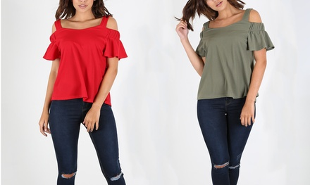 Be Jealous Cold Shoulder PeplumSleeved Swing Top