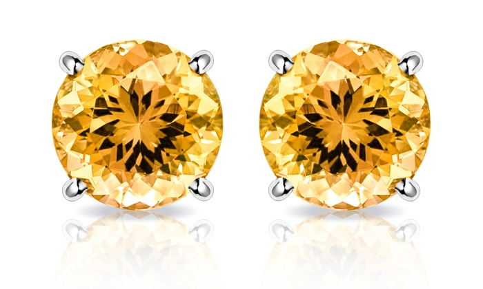 2 00 Cttw Citrine Stud Earrings In Solid 10k White Gold By Muiblu Gems