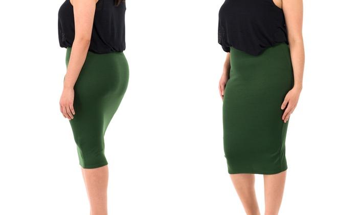 7bb2b4f79c Sociology Women's Plus Size Ponte High Waist Pencil Skirt (2X) | Groupon