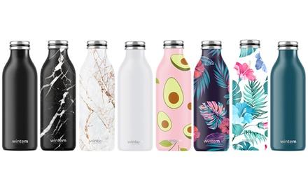 Bottiglie termiche Wintem 500ml, mantengono caldo per 12h e freddo per 24h, in acciaio e in vari colori