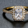 Women's 18K Gold Plated Cubic Zirconia Halo Engagement Ring by Hobart