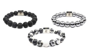 Men's Insignia Stretch Bracelet with 12mm Stone Beads by Free Essence