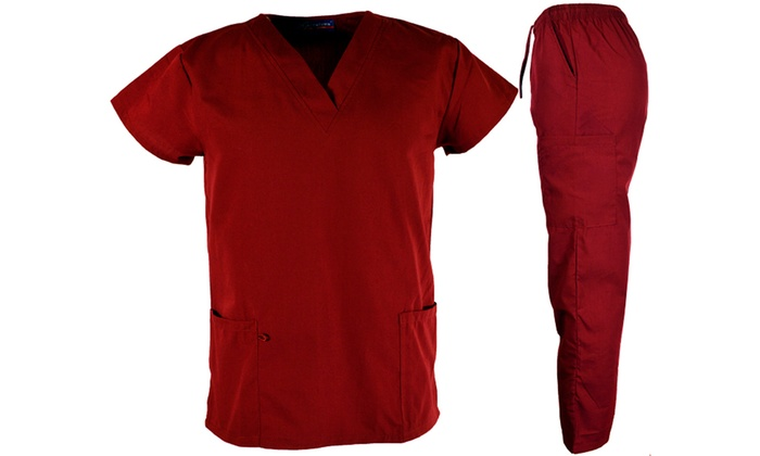 1b689ea5719 Green Town Women's V-Neck Medical Scrub Top and Bottom Set(1X & 4X ...