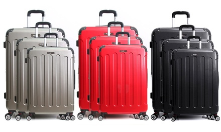 Set 3 valises en PC, 4 double roues pivotantes