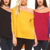 Isaac Liev Women's Off-Shoulder Curved Hem Tunic Top