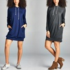Women's Hooded Sweatshirt Dress with Pocket