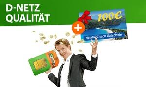 handytick: Klarmobil Smartphone Flat 400 MB inkl. 100 Freiminuten für monatlich 2,95 €* + 100 € HolidayCheck Gutschein gratis