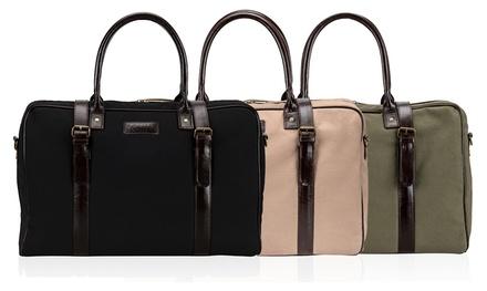 Solier Herren-Tasche aus 100% Baumwolle mit Leder-Handgriffen in Beige, Schwarz oder Grün