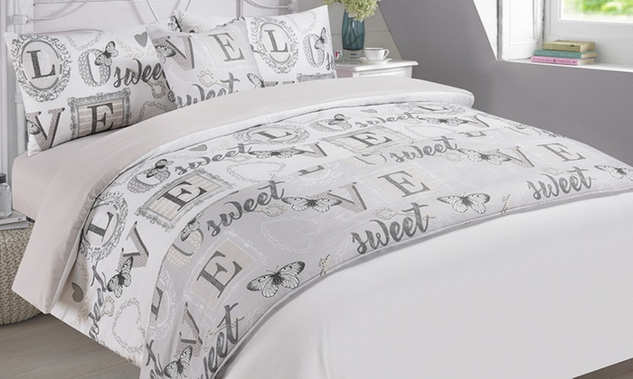 Dreamscene Six-Piece Love Sweet Love Duvet Cover Set in Choice of Colour for £17