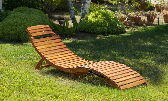 Lisbon Wood Outdoor Chaise Lounge