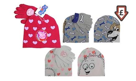 Kids' Secret Life of Pets or Peppa Pig Hat and Gloves Set