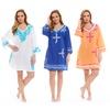 Women's 100% Cotton V-neck Embroidered Dress